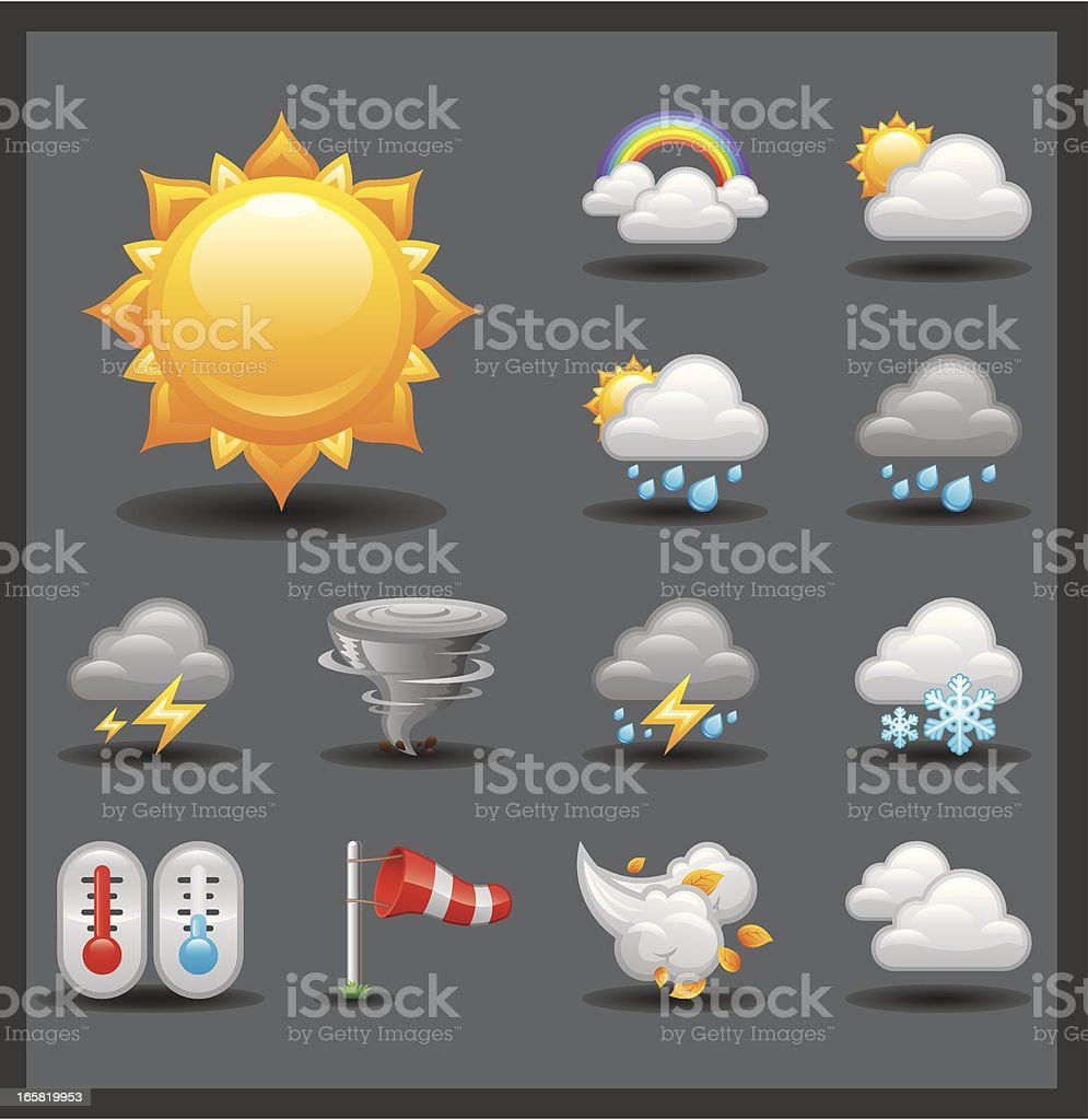Weather Icon Set | Shiny Series / Dark royalty-free stock vector art