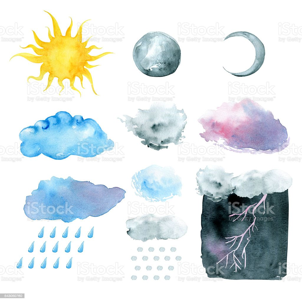 Weather symbols, watercolor hand painted vector art illustration