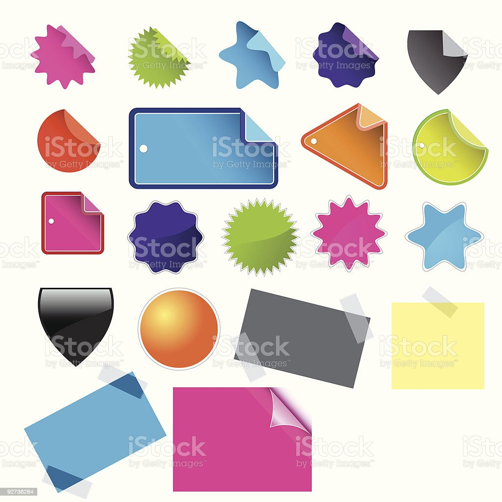 Web 2.0 stickers royalty-free stock vector art