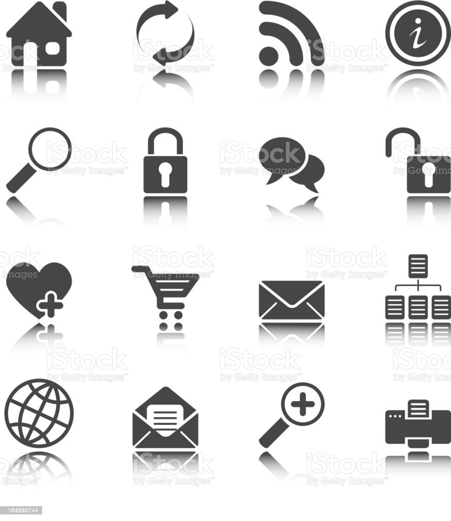 Web and Internet icons - white series royalty-free stock vector art
