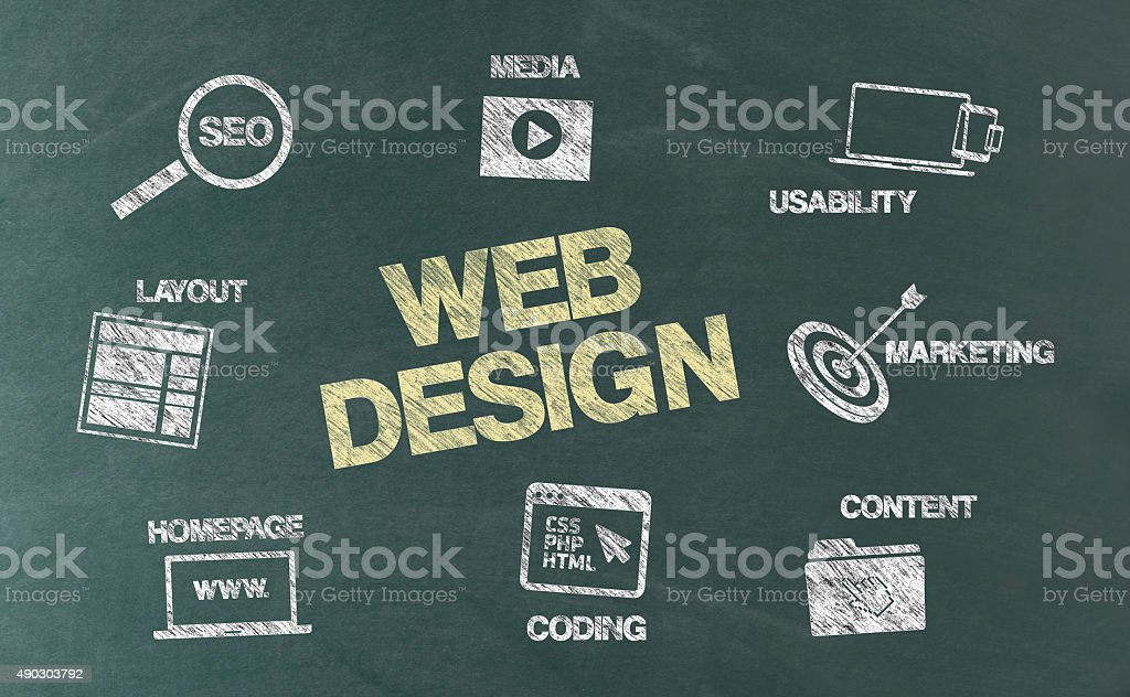 Web Design Concept with Icons on Blackboard vector art illustration