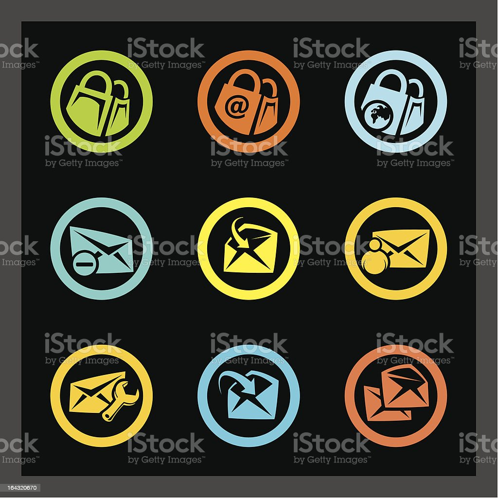Web Icons - E-mail and Online Shopping royalty-free stock vector art