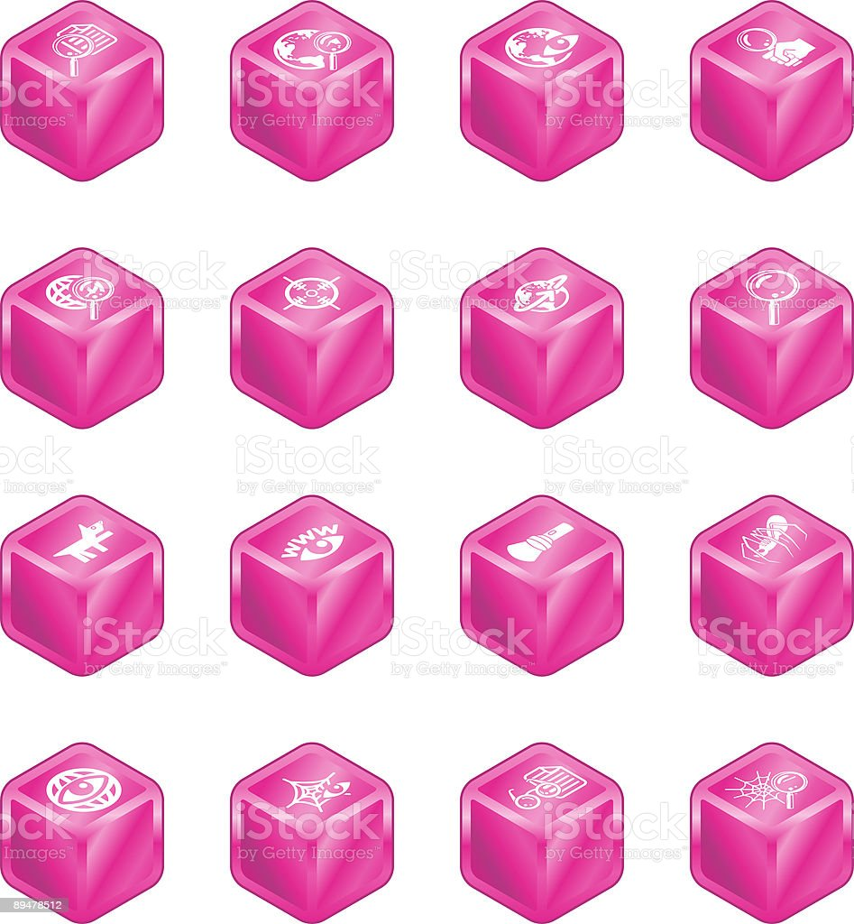 Web Search Cube Icon Series Set royalty-free stock vector art