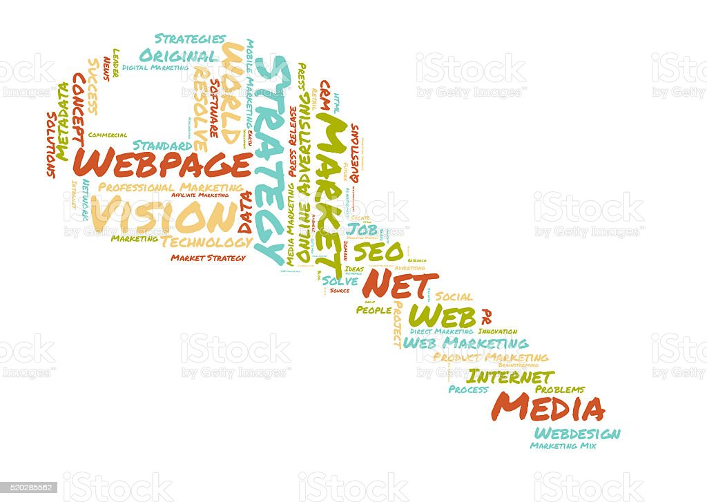 webpage word cloud stock photo