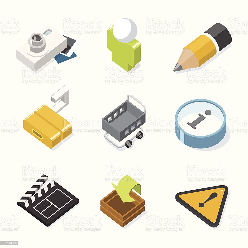 3D Website & Internet icons | iso series royalty-free stock vector art