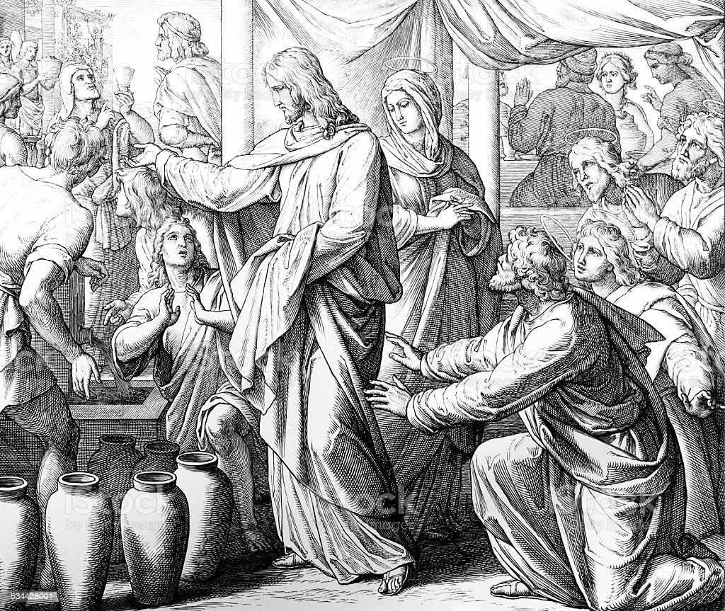 Wedding at Cana - Jesus changes water to wine vector art illustration