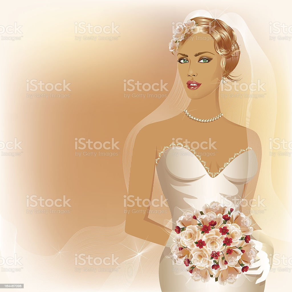 Wedding background with glamour bride holding  boouquet of roses vector art illustration