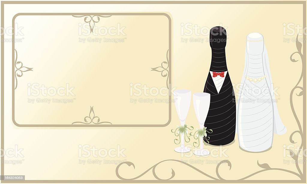 wedding champagne bottle royalty-free stock vector art