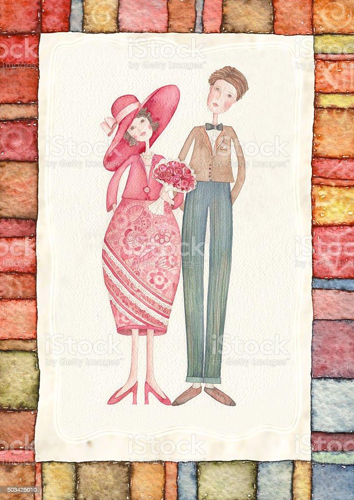 wedding couple vector art illustration