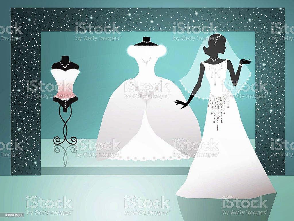 Wedding dresses vector art illustration