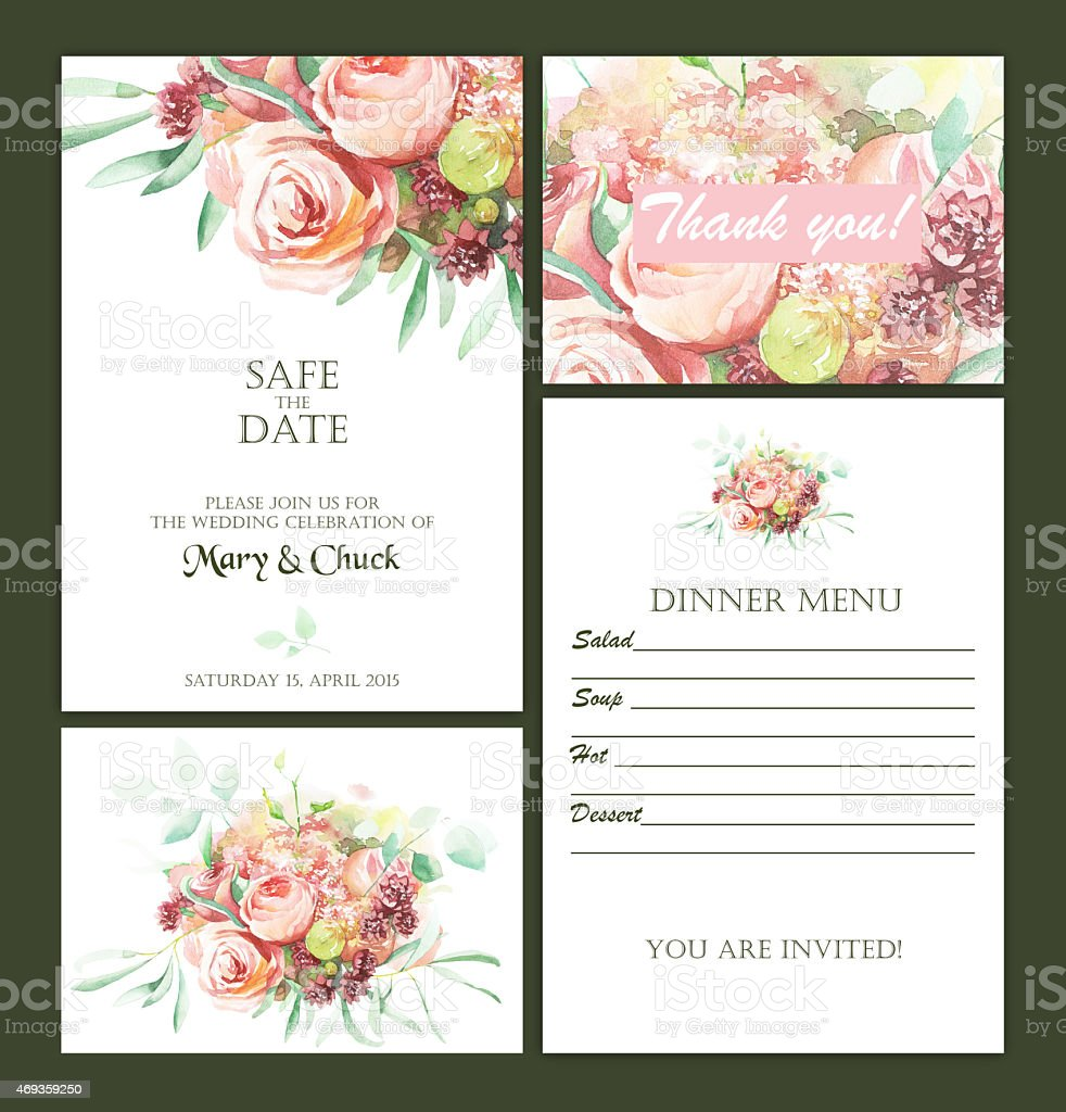Wedding invitation set with watercolor flowers vector art illustration