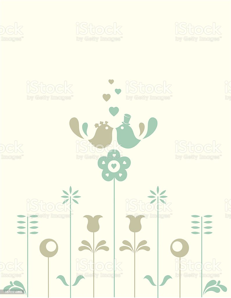 Wedding love birds on the flowers royalty-free stock vector art