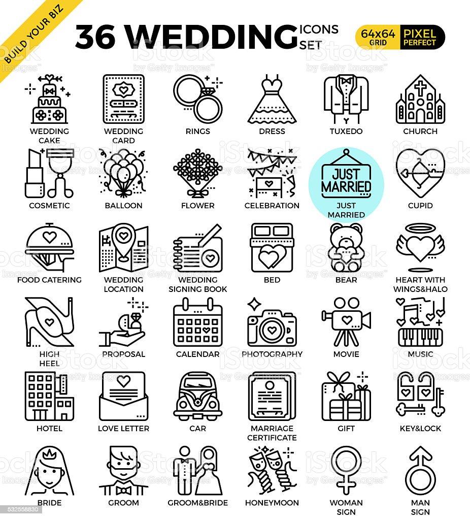 Wedding & Love Icons vector art illustration
