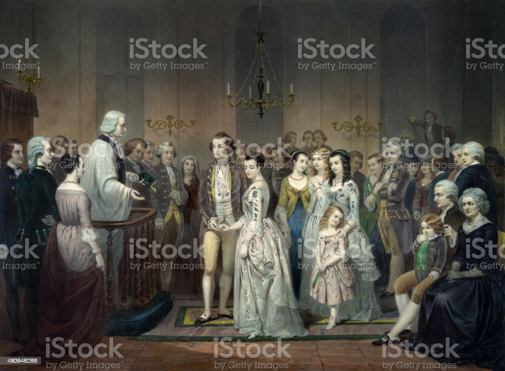 Wedding of George Washington vector art illustration