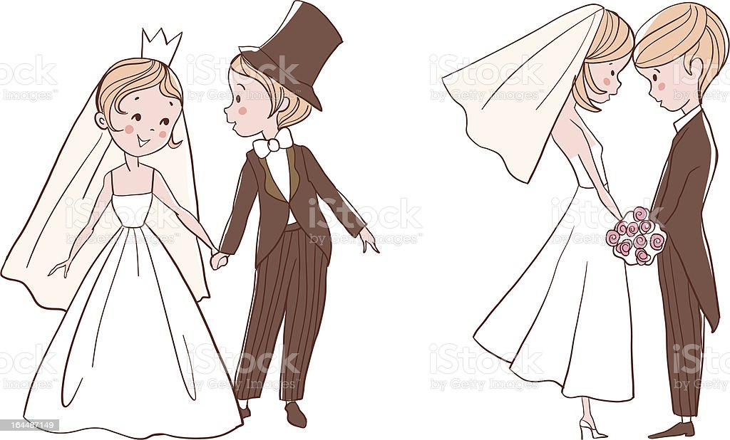 Wedding set: Bride and groom royalty-free stock vector art