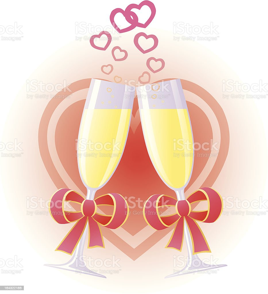 Wedding toast with champagne royalty-free stock vector art