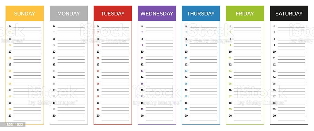 Week planning calendar in colors of the day vector art illustration