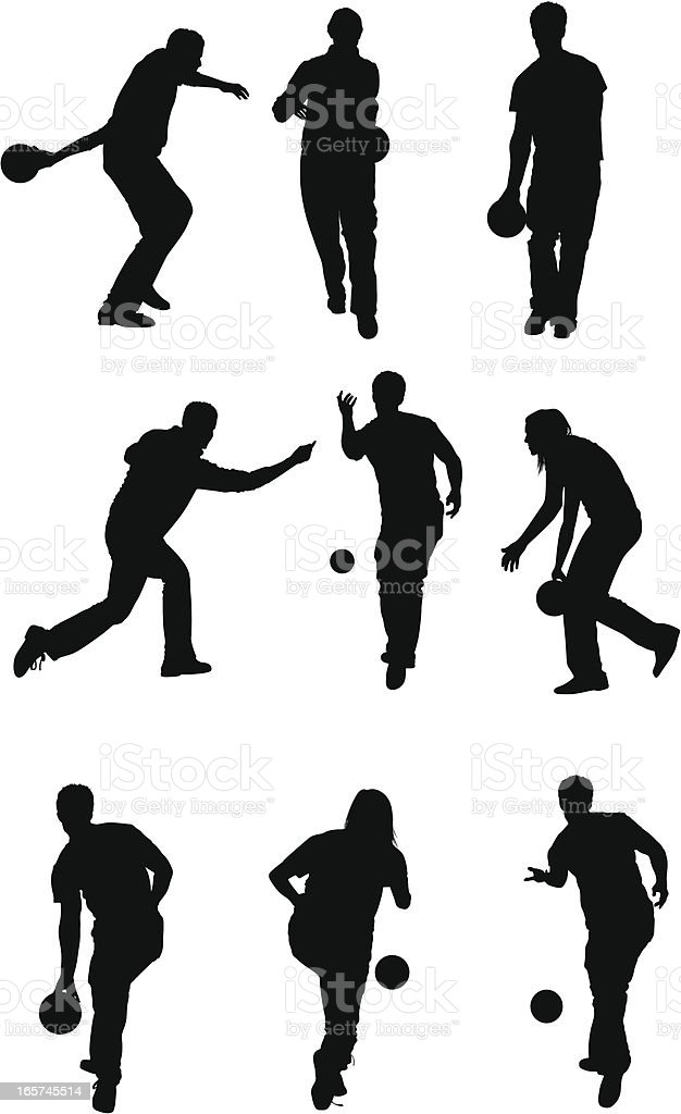 Weekend activity people bowling royalty-free stock vector art