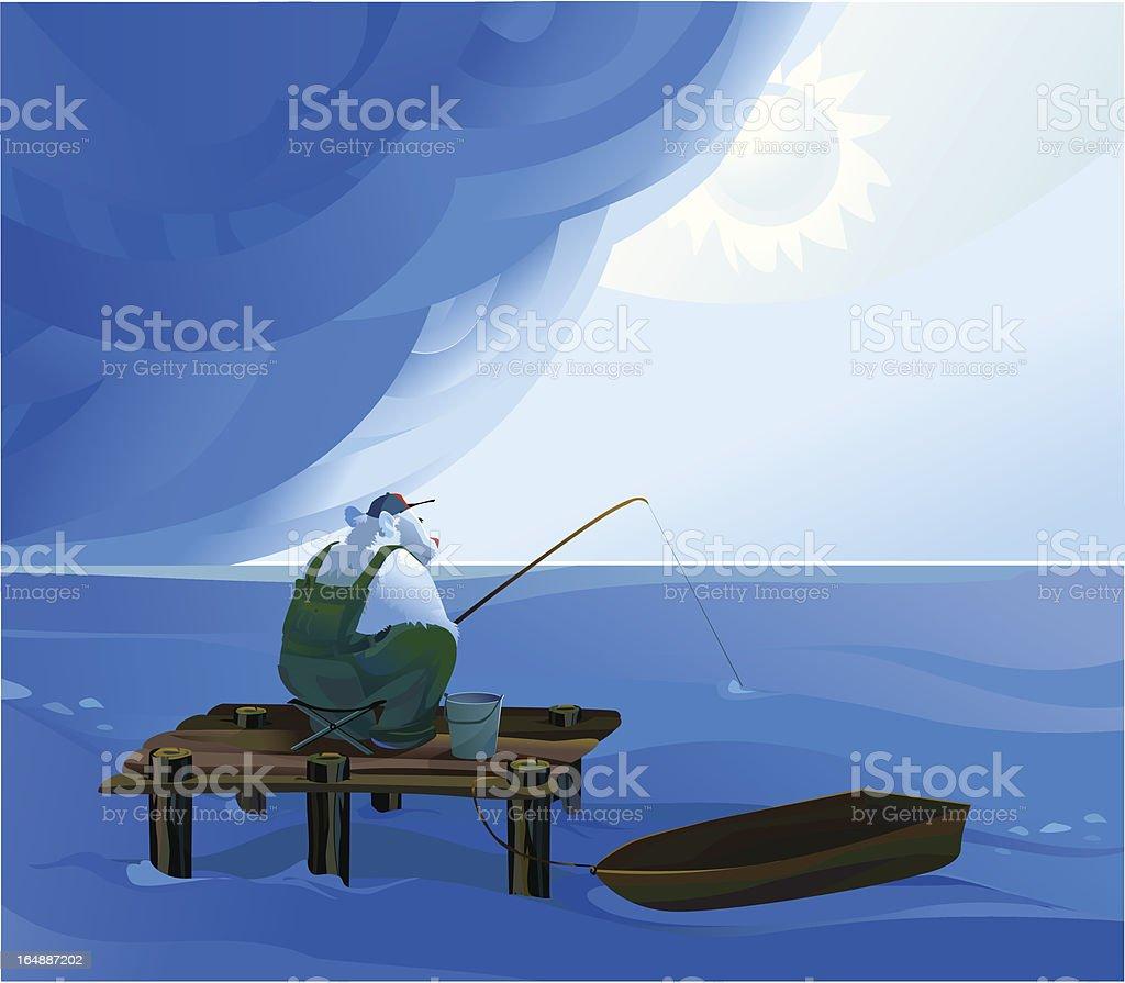 Weekend on the lake vector art illustration