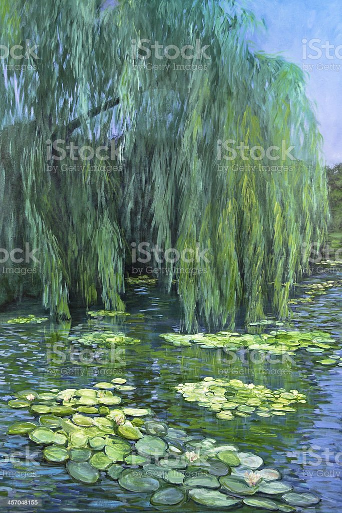 Weeping Willow tree and Water Lilies vector art illustration