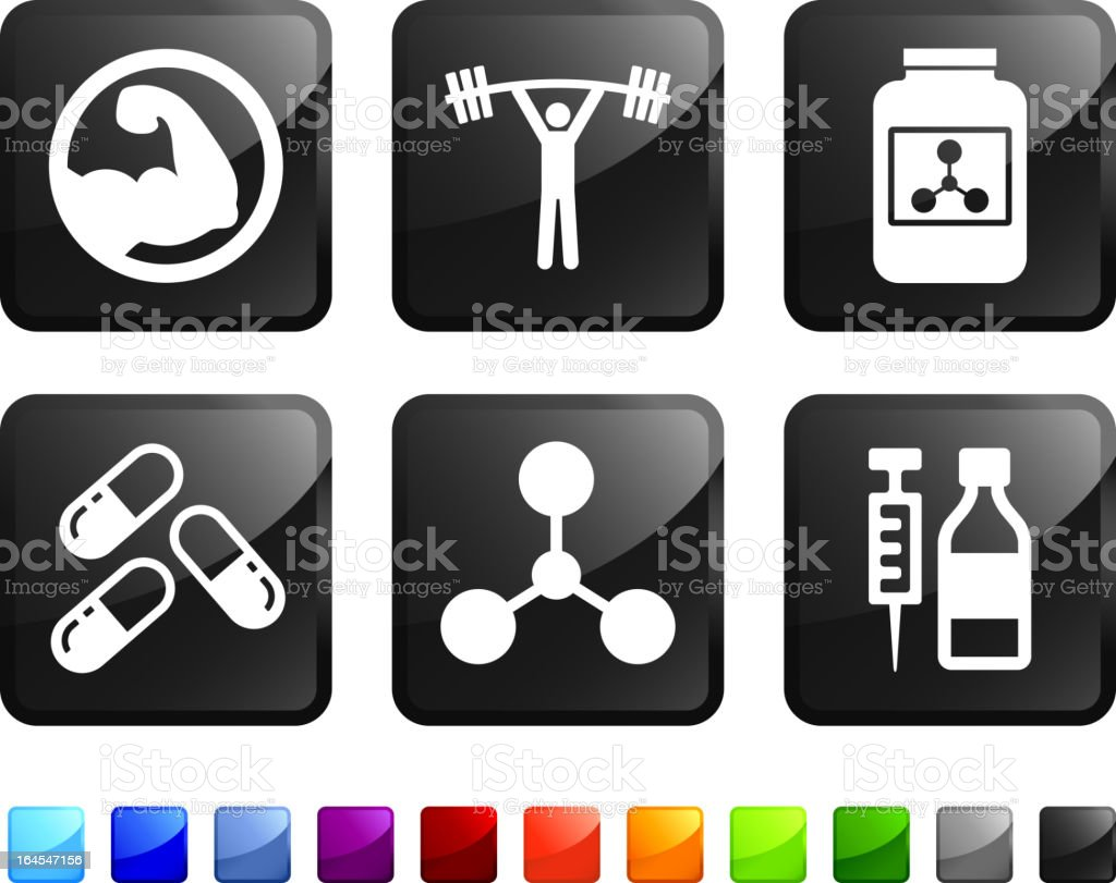 weight lifting performance enhancements royalty free vector icon set stickers royalty-free stock vector art