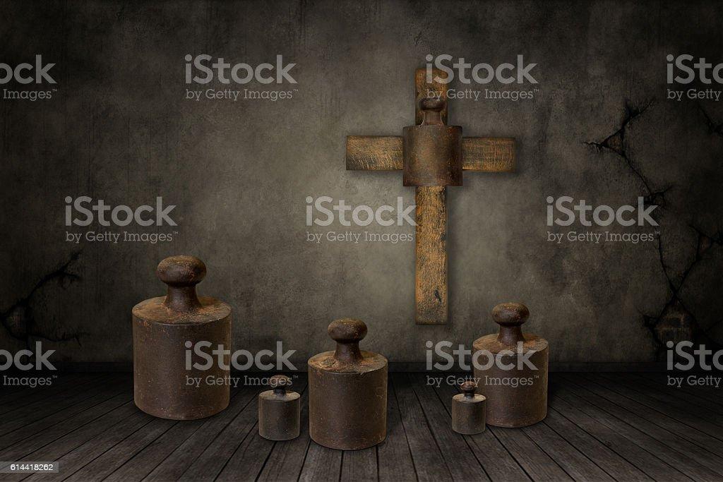 Weights under the cross vector art illustration