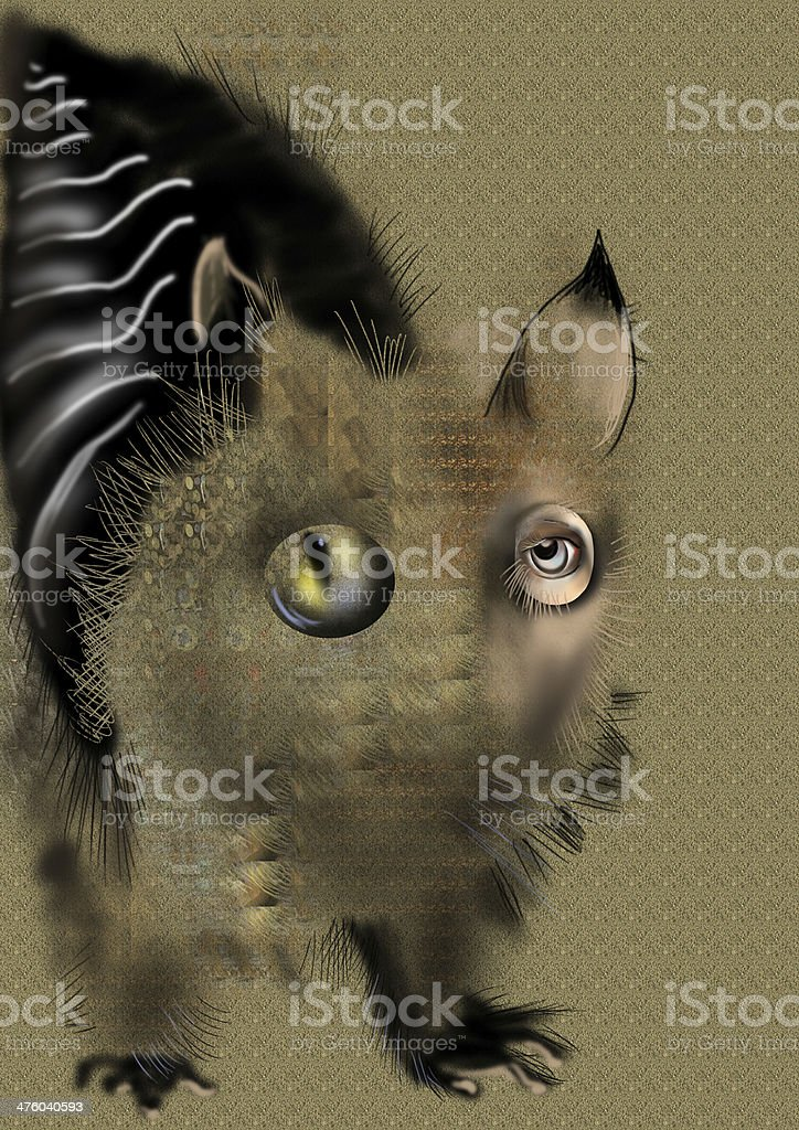 weird abstract animal over a beige background vector art illustration