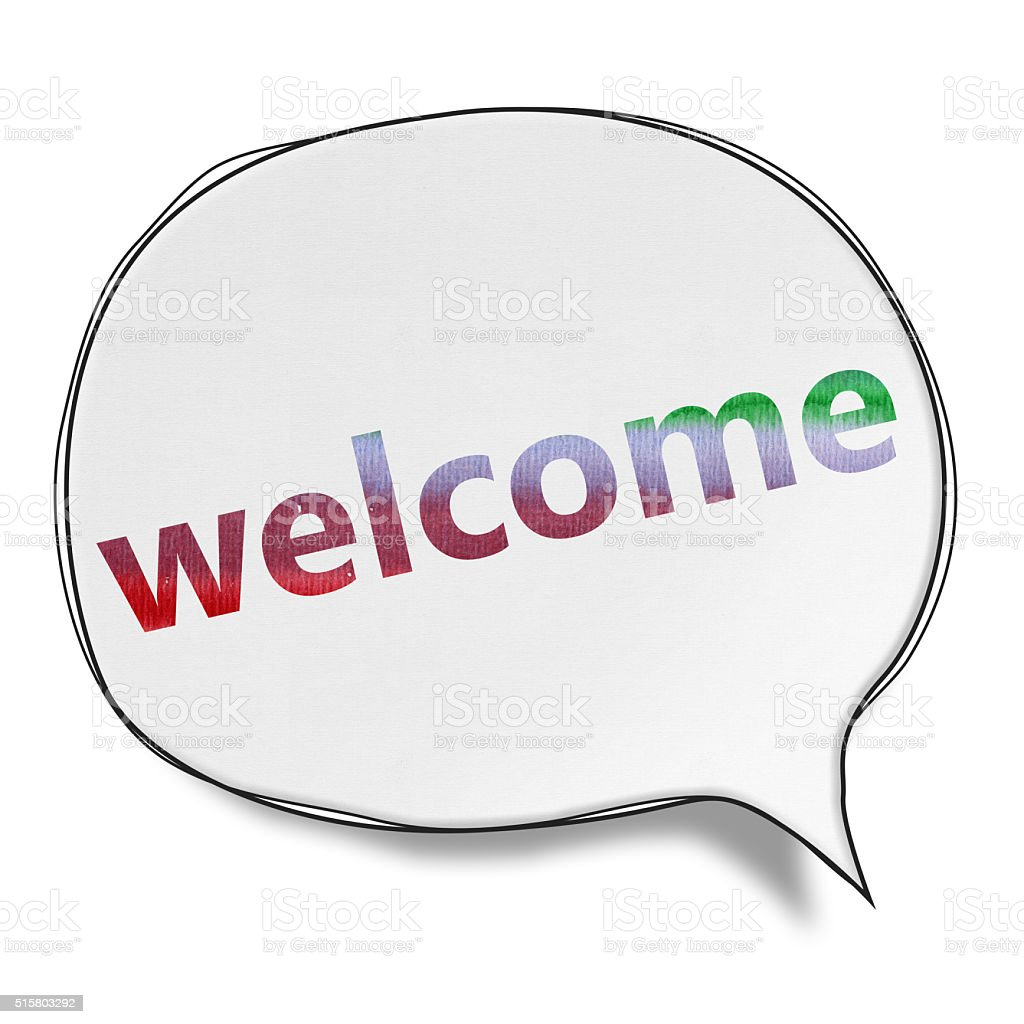 Welcome - Speech Bubbles (Clipping Path) vector art illustration