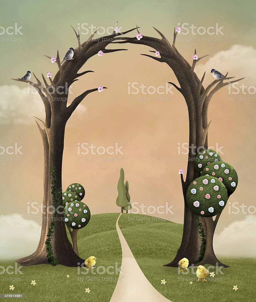 Welcome spring vector art illustration