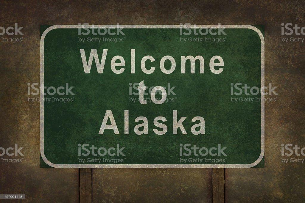 Welcome to Alaska roadside sign illustration vector art illustration
