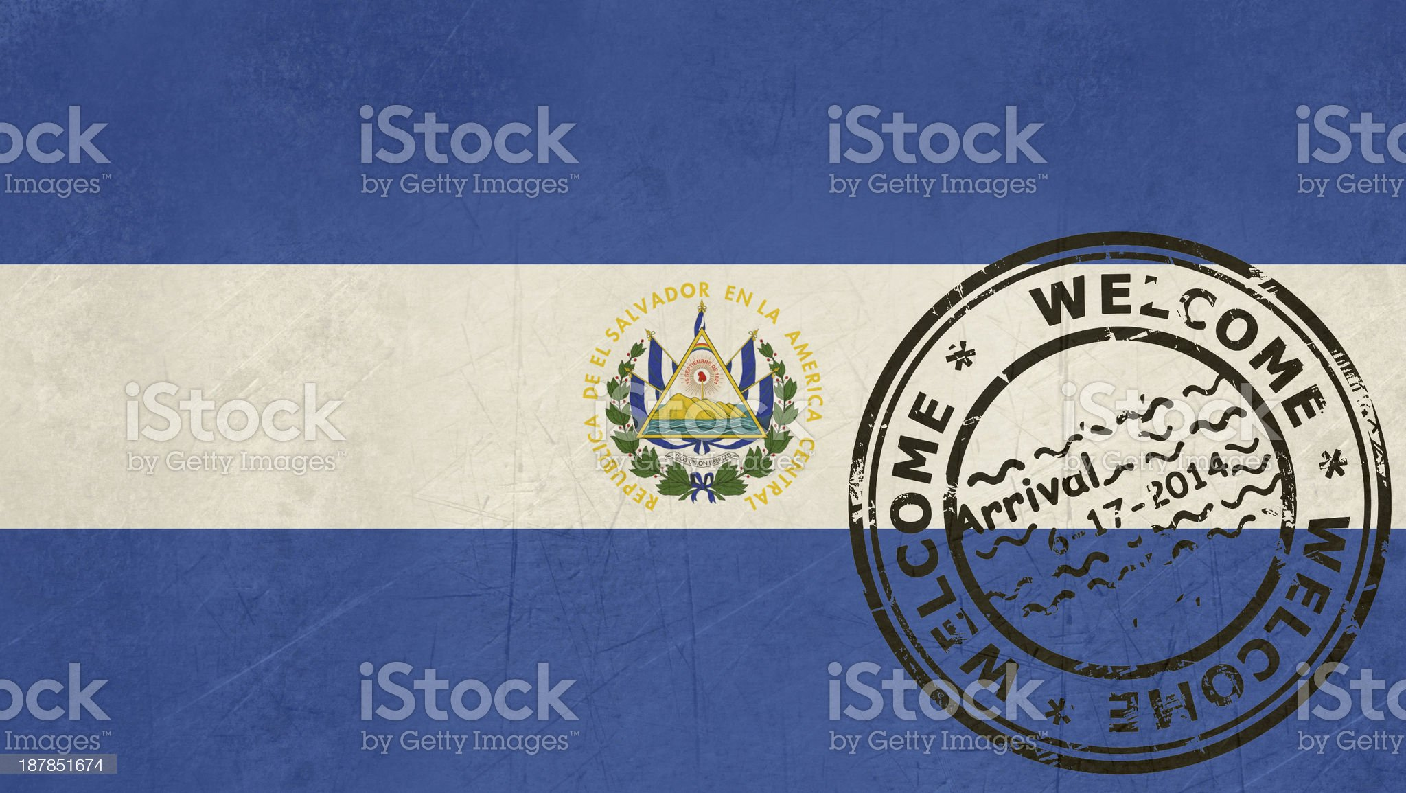 Welcome to El Salvador flag with passport stamp royalty-free stock vector art