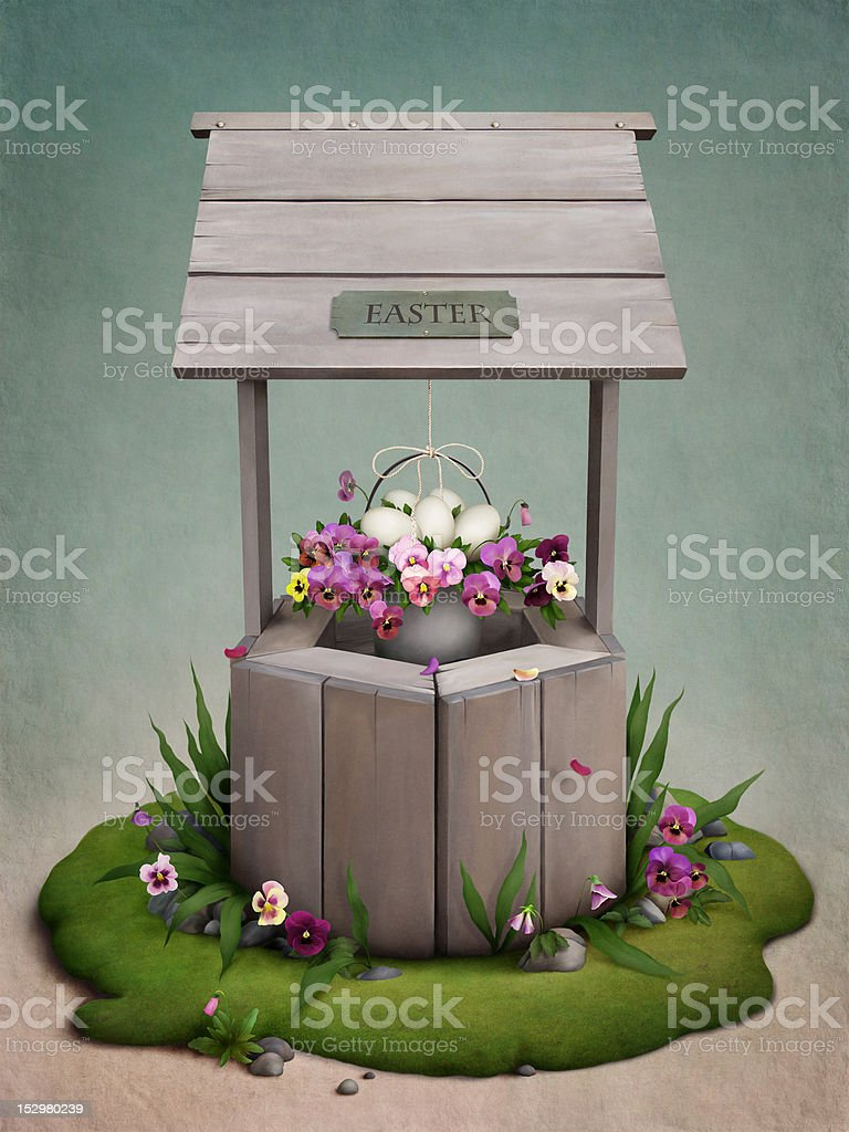Well,  flowers  and  Easter eggs royalty-free stock vector art