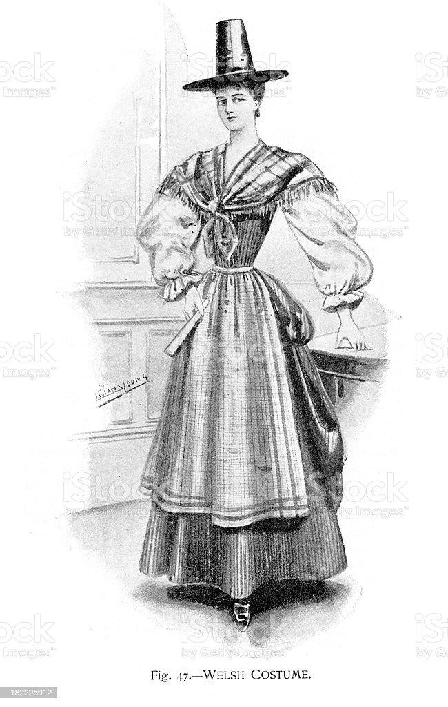 Welsh Costume vector art illustration