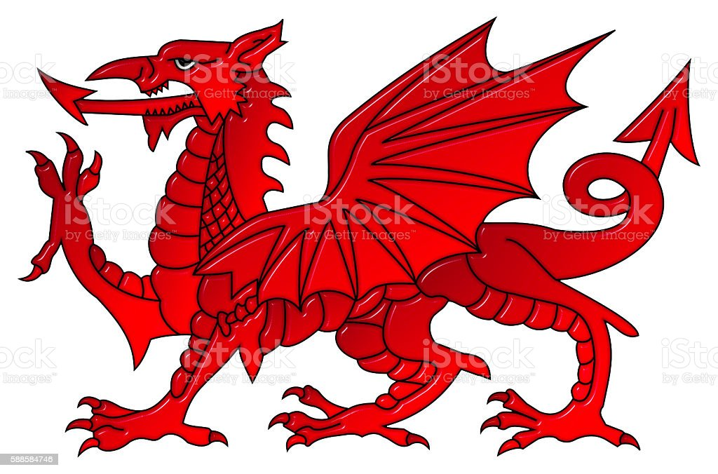 Welsh Dragon With a Bevel Effect vector art illustration