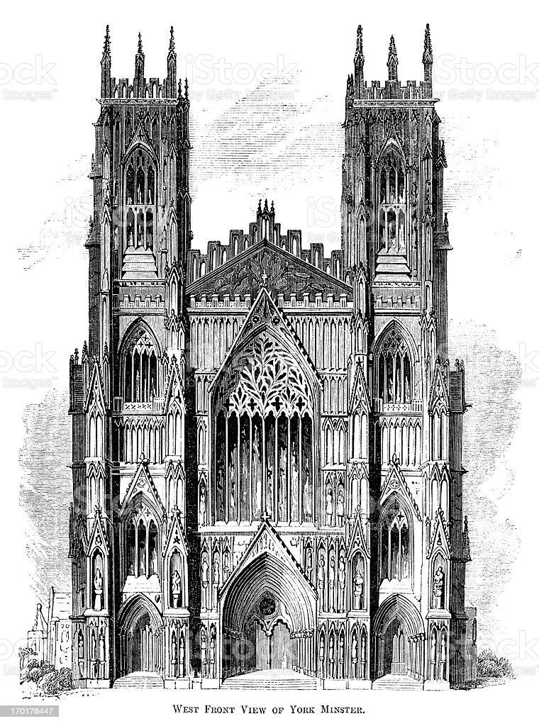 West Front of York Minster (Victorian woodcut) vector art illustration