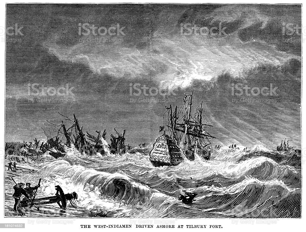 West Indiamen driven ashore royalty-free stock vector art