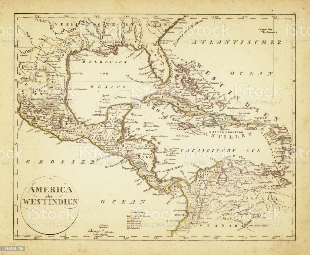 west indies map 1822 vector art illustration