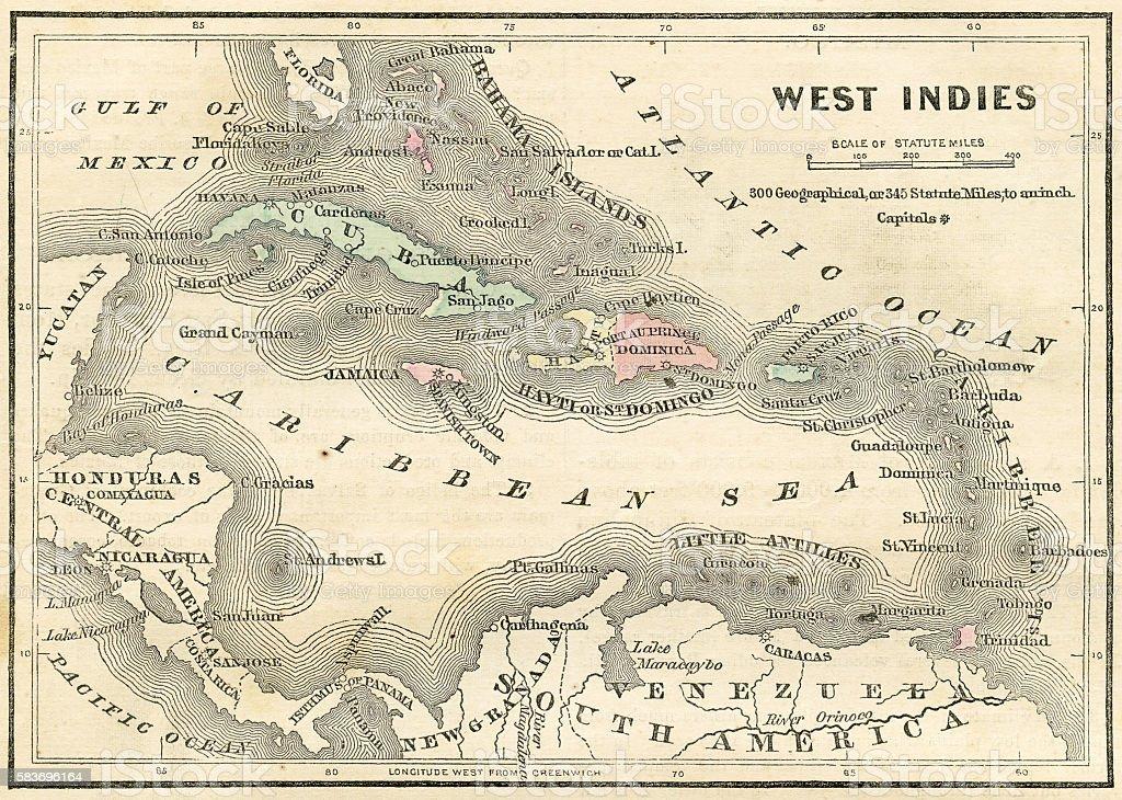 West Indies map 1856 vector art illustration