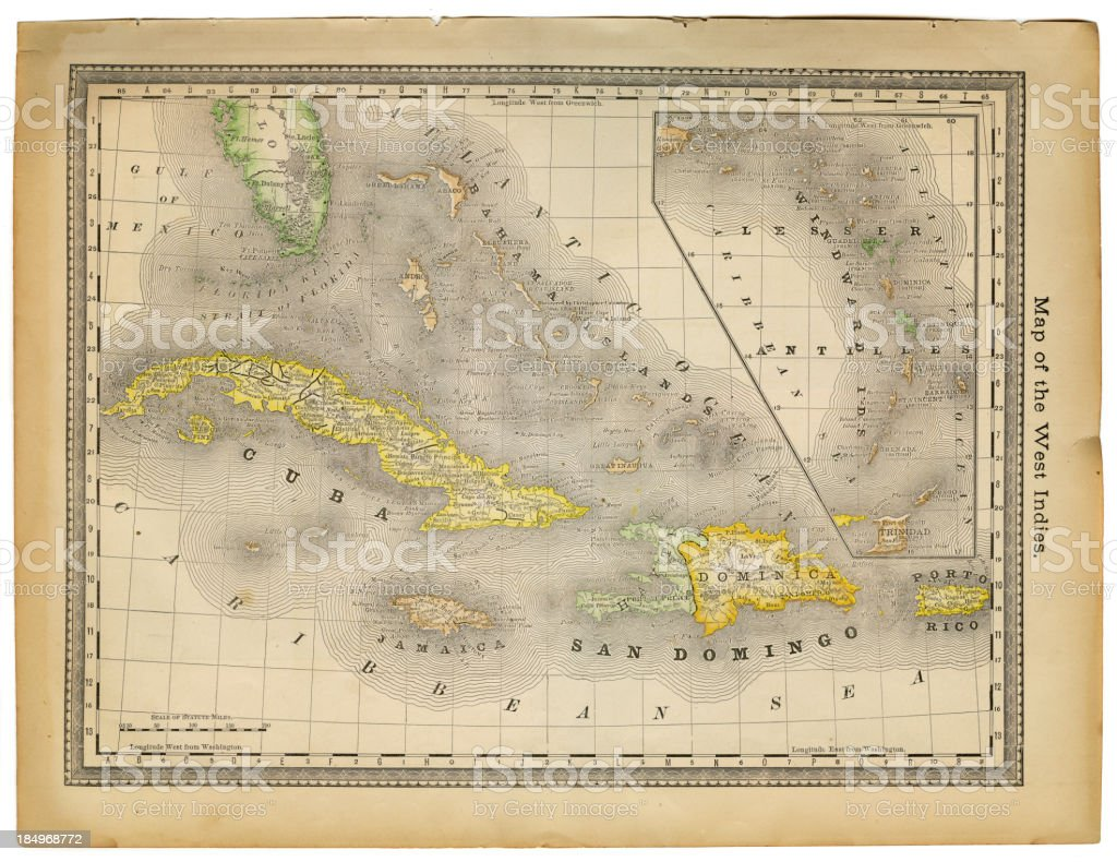 west indies map 1882 vector art illustration