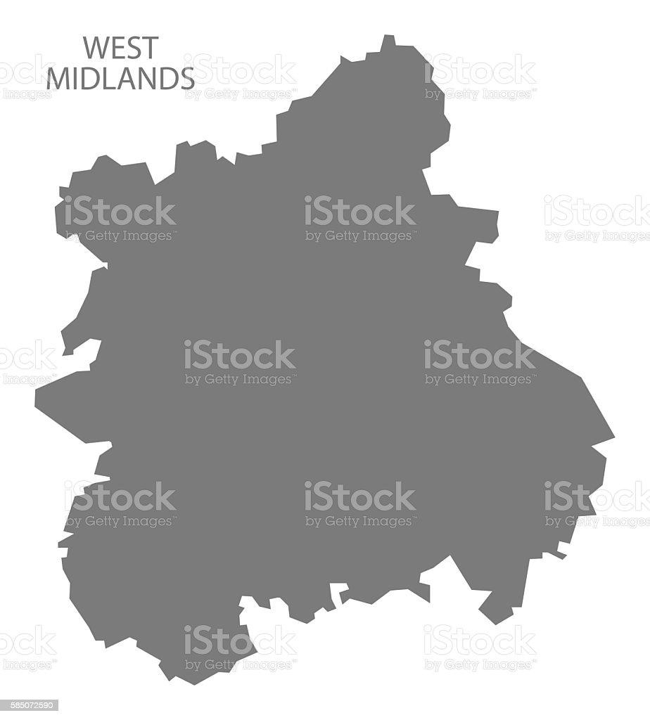 West Midlands England Map grey vector art illustration