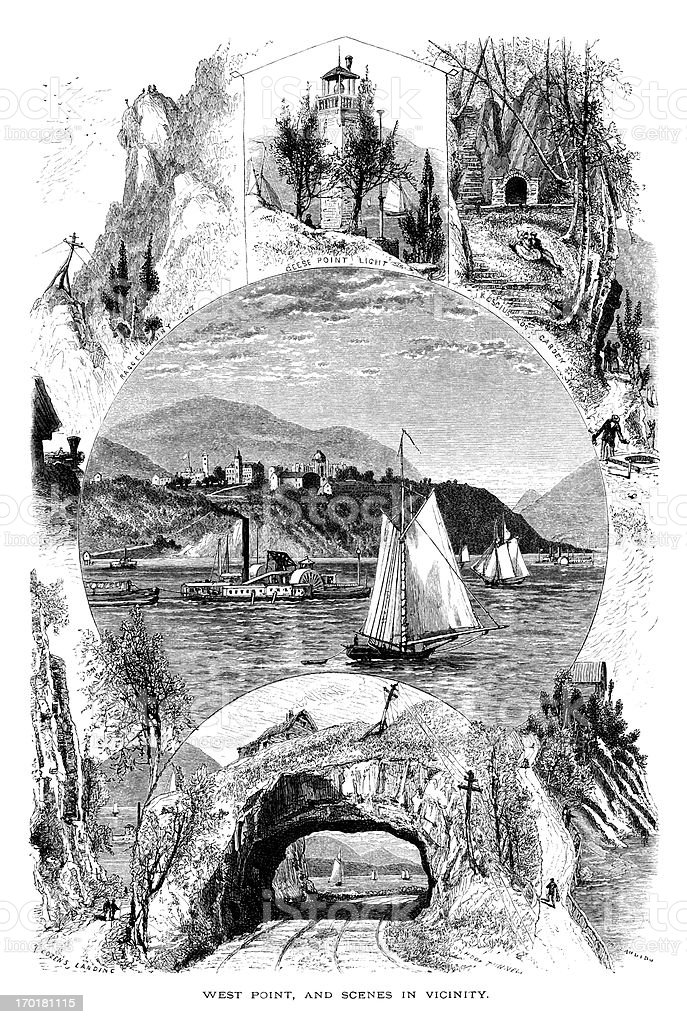 West Point and scenes in the vicinity (Victorian engraving) vector art illustration