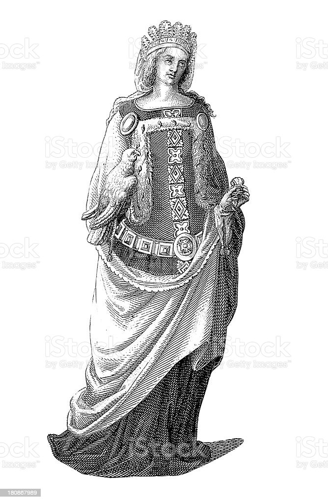 Western European noble woman from XIV century royalty-free stock vector art