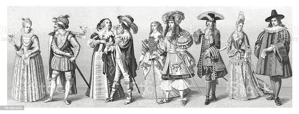 Western European people (Netherlands, France, Germany), XVII century royalty-free stock vector art