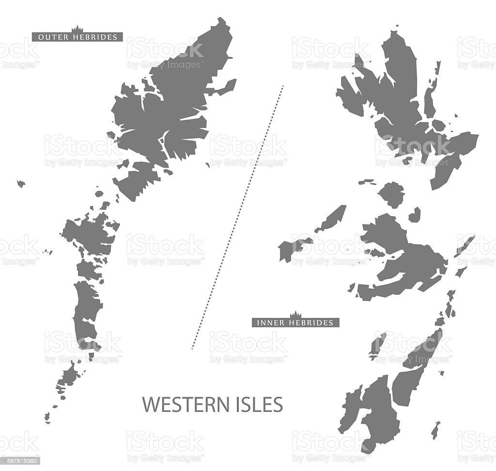 Western Isles Scotland Map grey vector art illustration