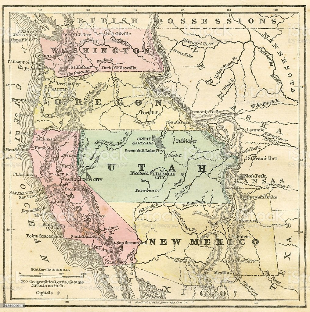 Western Pacific USA states map 1856 vector art illustration