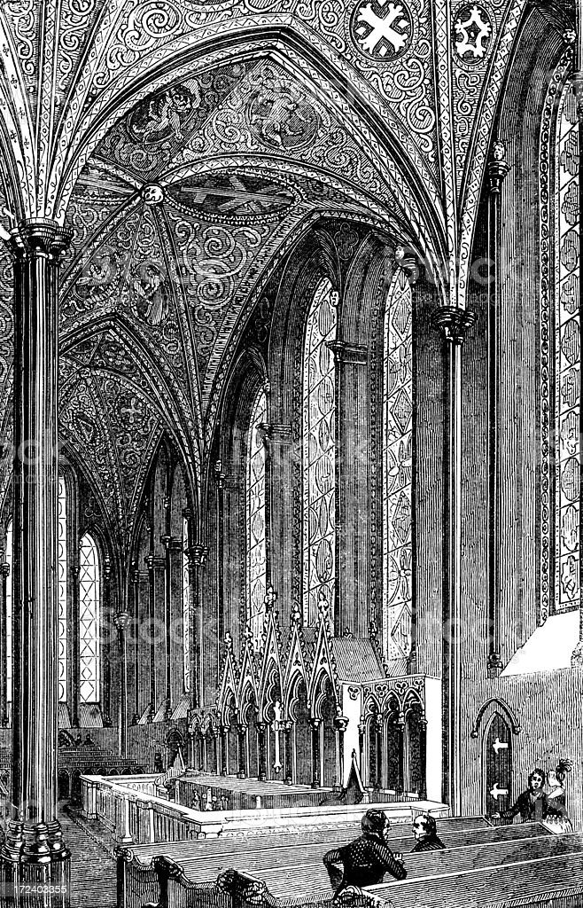 Western windows and Reredos of the Temple Church, London vector art illustration