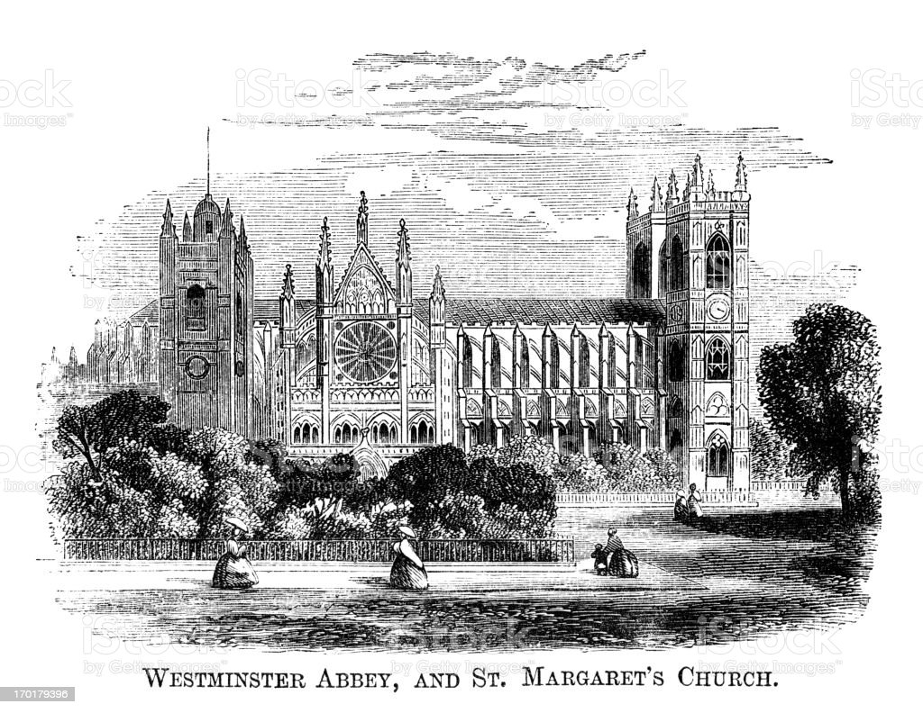 Westminster Abbey and St Margaret's Church (1871 engraving) vector art illustration