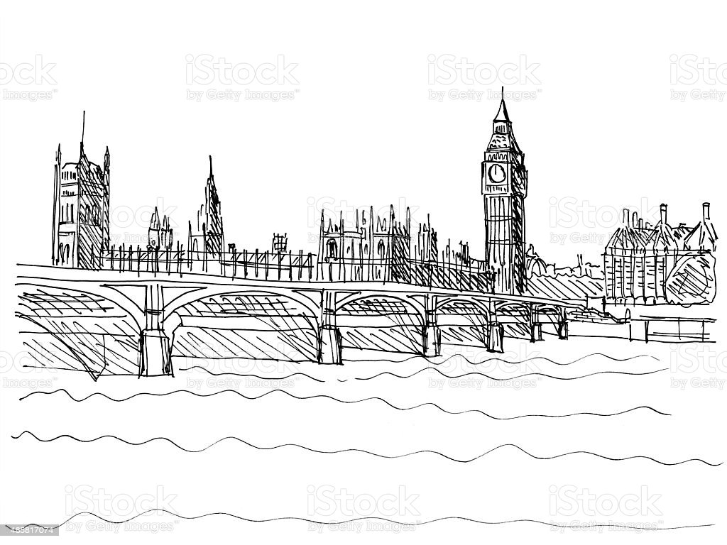 Westminster Bridge vector art illustration