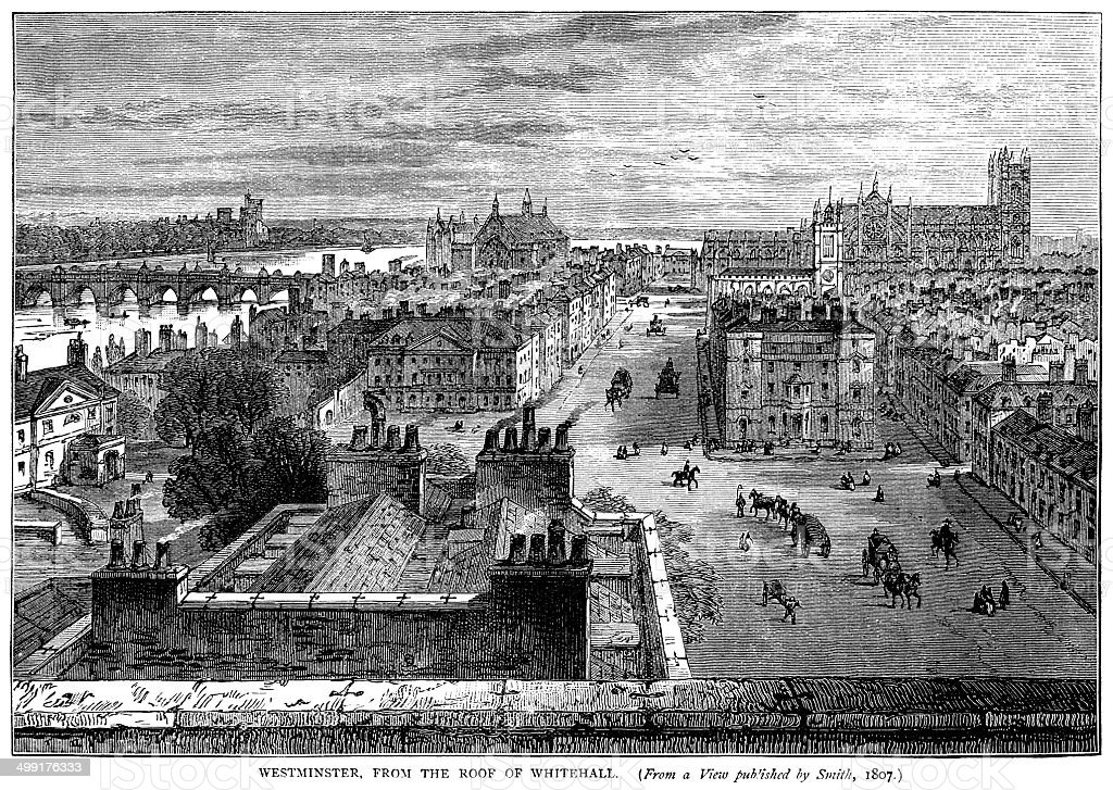 Westminster from the roof of Whitehall, c1807 vector art illustration