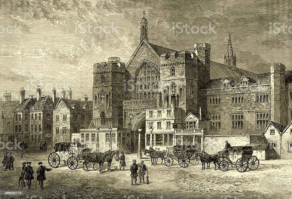 Westminster Hall from a view by JT Smith, 1808 vector art illustration
